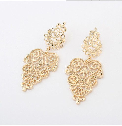 Gold Filigree Earrings Boho Chic Large Statement Jewelry Earring Metal