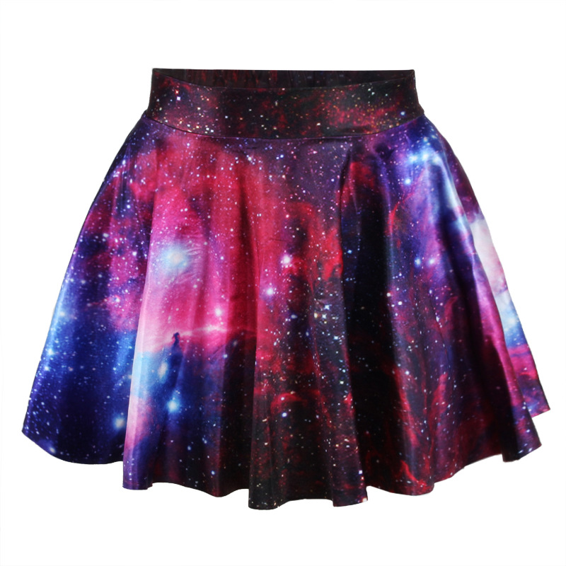62b62e669b New Fashion Women Pleated Skirts Free Size Short Skirts Reversible Skater  Skirt 3D Galaxy Space Printed Skirt Adventure Time Women s Party Skirt  Casual ...